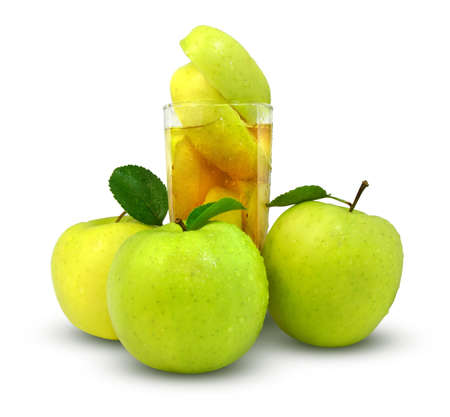 useful: fresh apples and glass of apple juice  Stock Photo