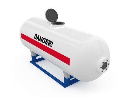 cilindro de gas: El dep�sito de combustible abierto aislado blanco modelo 3D Foto de archivo