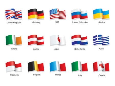 Flags of different world countries such as Great Britain, USA, Germany, Italy, Russia, Ukraine, Greece e.t.c Stock Photo