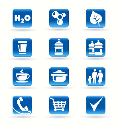 ingredients tap: Icons kitchen shop food drink vector with shadow