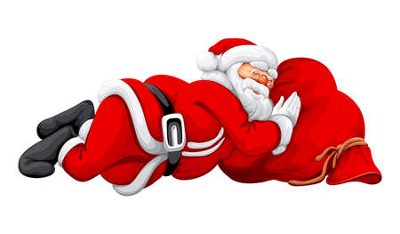 Santa Claus slipping on the sack vector illustration rasterized illustration