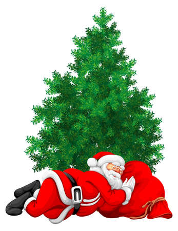 Santa Claus slipping on the sack and green christmas tree isolated vector illustration rasterized illustration