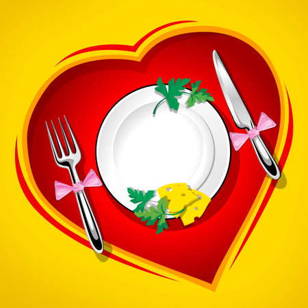 to consume: Served table on the heart love vector illustration rasterised