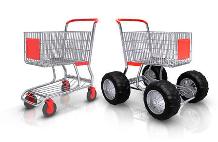 mart: Shopping carts competition over white background
