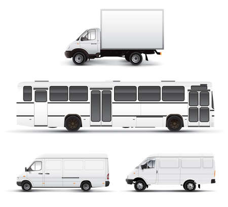 City transport bus truck car grayscale template Stock Photo - 1631475