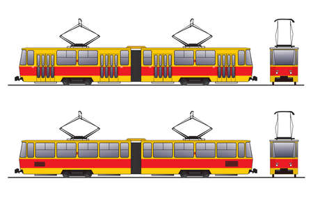 Vector scheme of tram vagon over white background photo