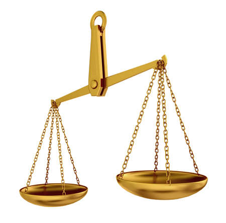 imbalance: empty gold scales isolated 3d model over white background