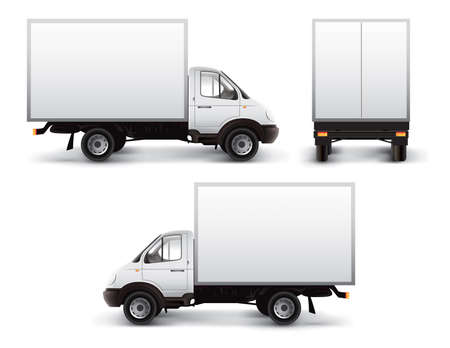 White delivery car isolated Stock Photo - 1631474