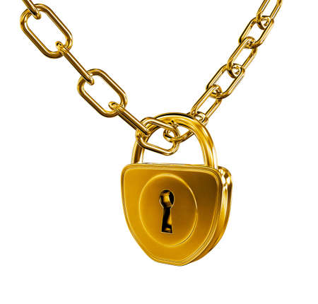 locked door: Gold lock with chain 3d model illustration isolated  Stock Photo
