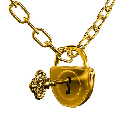 Gold lock with key and chain isolated photo