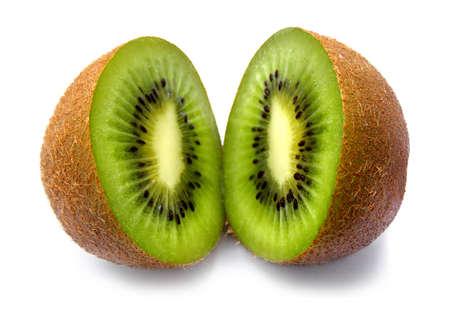 basis: Ripe juicy cut by kiwi on a white background