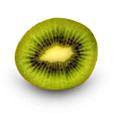 Ripe juicy cut by kiwi on a white background isolated     photo