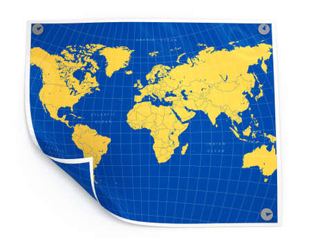 simplicity: Paper sheet with world map isolated illustration Stock Photo