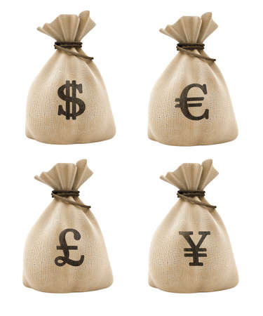 sacks with money different currencies isolated Stock Photo - 1655875