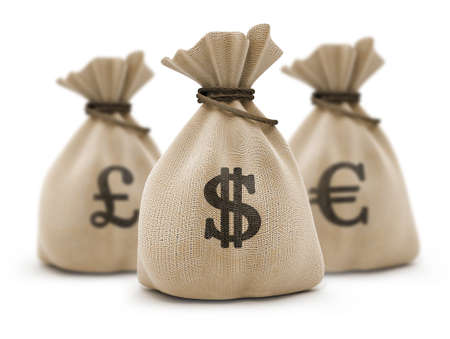 sacks with money different currencies isolated Stock Photo - 1655856