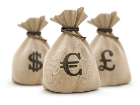 sacks with money different currencies isolated Stock Photo - 1655859