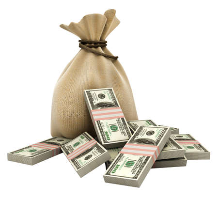 sack with money dollars currency isolated  photo