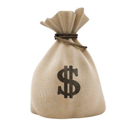 sack with money dollar currency isolated