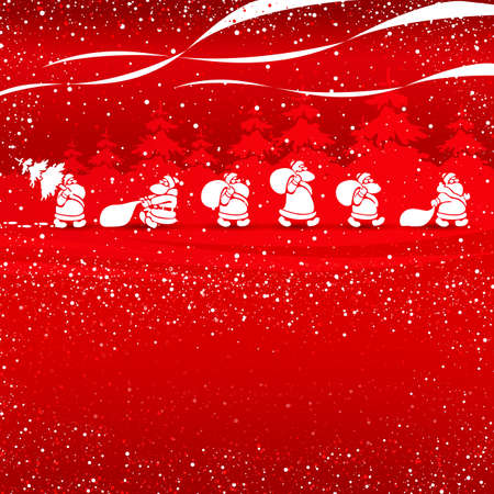 Cristmas Santas walking red vector illustration template for greeting cards Stock Photo