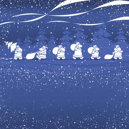 cristmas: Cristmas Santas walking blue vector illustration template for greeting cards Stock Photo