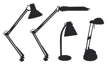 Table lamp shapes vector illustration rasterized black Stock Illustration - 1686678