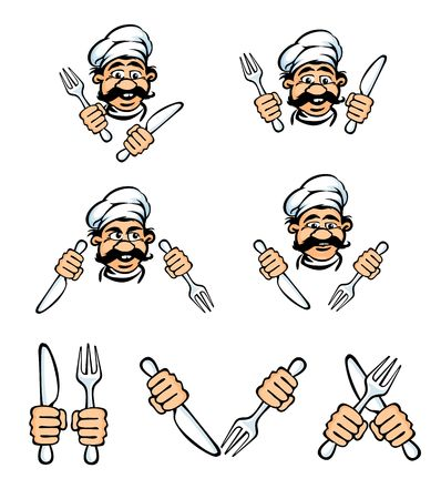 cook face with knife and fok rasterized vector illustration illustration