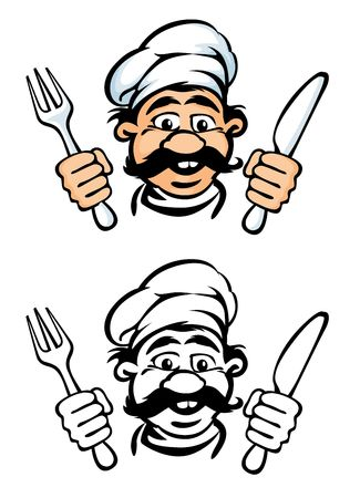 cook face with knife and fork rasterized vector illustration illustration