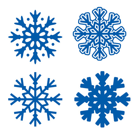 four blue snowflakes isolated over white background vector illustration