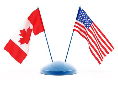 National flags of USA and Canada isolated 3d illustration Imagens