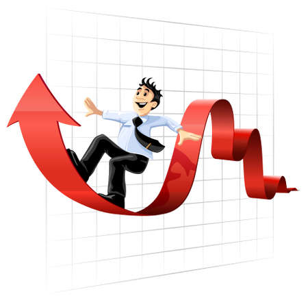 finance director: Businessman surfing on the chart line business conceptual vector illustration