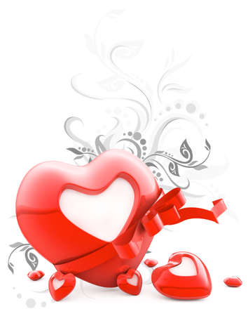 Red heart with stripe and blank white label for Valentines day greeting cards 3d illustration illustration