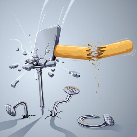 壊れた爪を打つハンマーします。強力なハンマーと弱い爪どのように誰が勝つと思いますか?:)