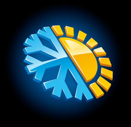 klimaat symbool pictogram winter en zomer sneeuw en zon vector illustratie