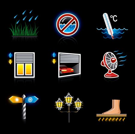 web icons house yard territory and climate on the black background vector illustration illustration