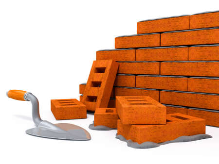 first house: First bricks of new house. Brick wall foundation isolated 3d illustration