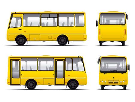 gelb Minibus Vektor Entwurf Vorlage isoliert über weißem Hintergrund