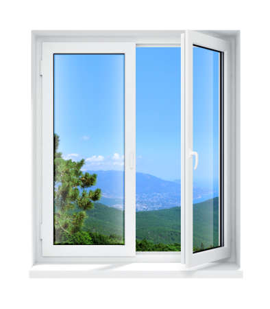 open air: new opened plastic glass window frame isolated on the white background 3d model illustration Stock Photo