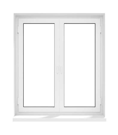 glass door: new closed plastic glass window frame isolated on the white background 3d model illustration Stock Photo