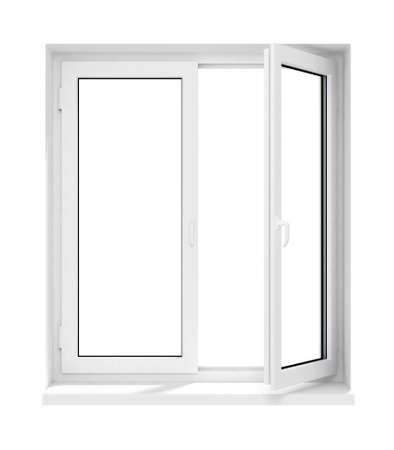 opened: new opened plastic glass window frame isolated on the white background 3d model illustration Stock Photo
