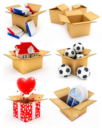 Casa nueva, corazones rojos, ventanas de plástico, libros y balones de fútbol en cajas de cartón 3d ilustraciones  Foto de archivo - 2782233
