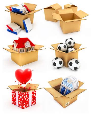 uitpakken: nieuwe particuliere woning, rode harten, kunststof ramen, boeken en voetballen in kartonnen dozen 3d illustraties