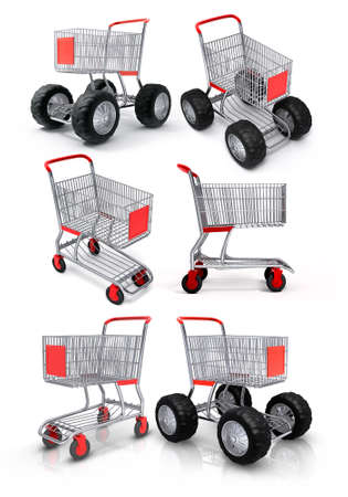 set of shopping carts for food store isolated 3d illustration illustration