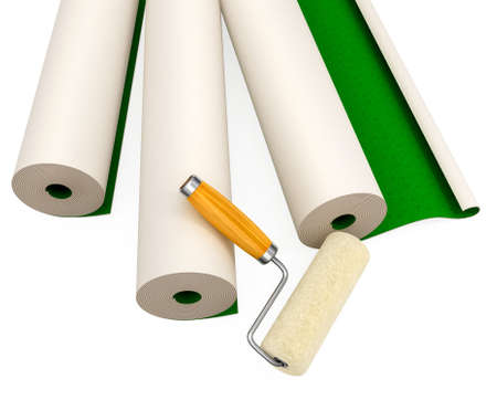 repairing: wallpapers and roller tool for house repairing isolated 3d illustration