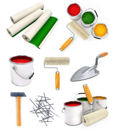 pegamento: colecci�n de herramientas de trabajo aislado de la casa la reparaci�n de ilustraci�n 3d