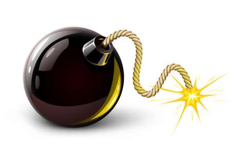 bombe: illustration vectorielle noir bombe de combustion isol�e sur le fond blanc