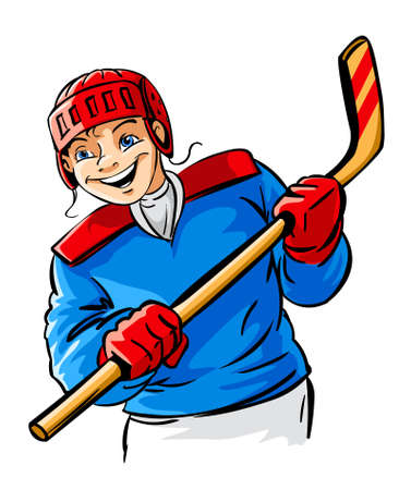 cartoon hockey: smiling vector boy character playing hockey sport game