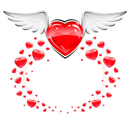 Red love heart with white wings flying vector illustration illustration