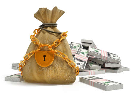 money bag with gold lock and dollar packs isolated 3d illustration Stock Illustration - 3108837