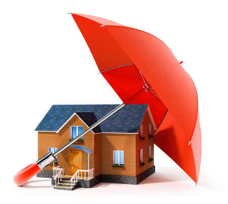 foundation: red umbrella protecting house from rain 3d illustration