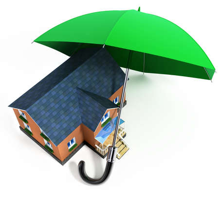 guardianship: red umbrella protecting house from rain 3d illustration